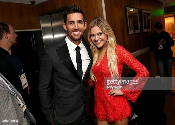 Jake Owen and Kelsea Ballerini pose backstage during the 9th Annual ACM Honors at the Ryman Auditorium on September 1 2015 in Nashville Tennessee