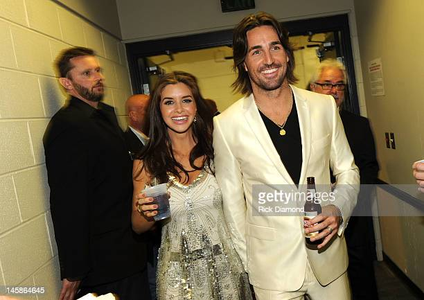 Jake Owen and Lacey Buchanan attend the 2012 CMT Music awards at the Bridgestone Arena on June 6 2012 in Nashville Tennessee