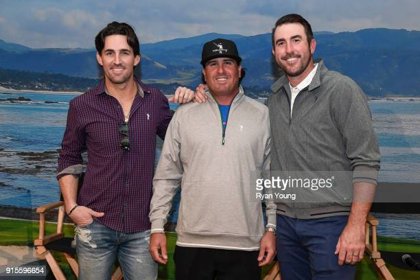 Jake Owen Justin Verlander and Pat Perez pose for a photo during the CBS Television Reception at the ATT Pebble Beach ProAm at Pebble Beach Golf...