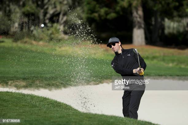 Jake Owen plays his shot from the bunker on the second hole during Round Three of the ATT Pebble Beach ProAm at Pebble Beach Golf Links on February...