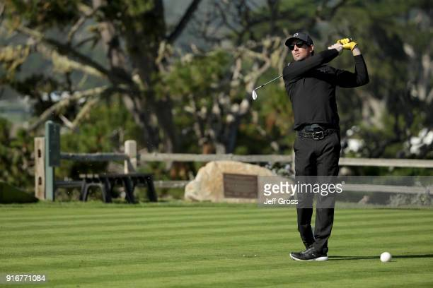 Jake Owen plays his shot from the fifth tee during Round Three of the ATT Pebble Beach ProAm at Pebble Beach Golf Links on February 10 2018 in Pebble...