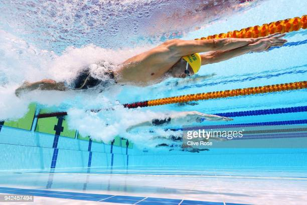 Jake Packard of Australia competes during the Men's 100m Breaststroke Heat 3 on day two of the Gold Coast 2018 Commonwealth Games at Optus Aquatic...