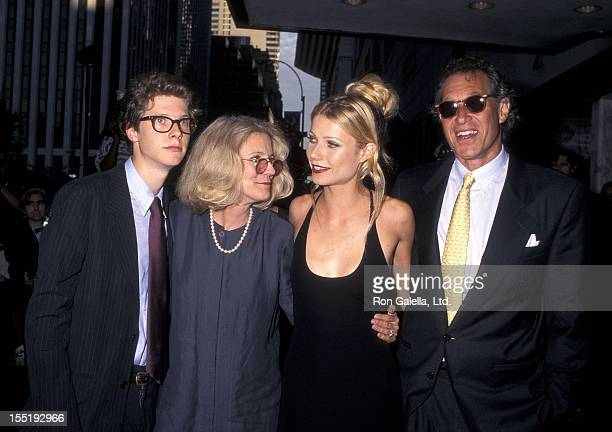 Jake Paltrow actress Blythe Danner actress Gwyneth Paltrow and producer Bruce Paltrow attend the Emma New York City Premiere on July 22 1996 at the...