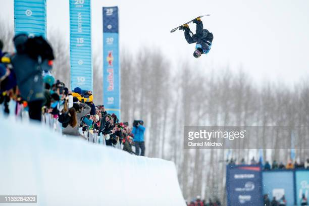 Jake Pates competes during the Men's Halfpipe finals at the Burton US Open Championships at Golden Peak on March 2 2019 in Vail Colorado