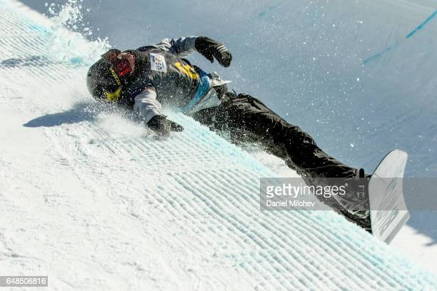 Jake Pates competes during the Men's Halfpipe finals of the 2017 Burton US Open on March 4 2017 in Vail Colorado