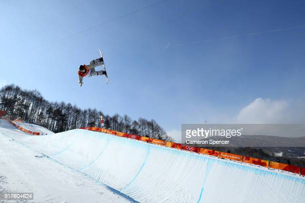 Jake Pates of the United States competes during the Snowboard Men's Halfpipe Qualification on day four of the PyeongChang 2018 Winter Olympic Games...