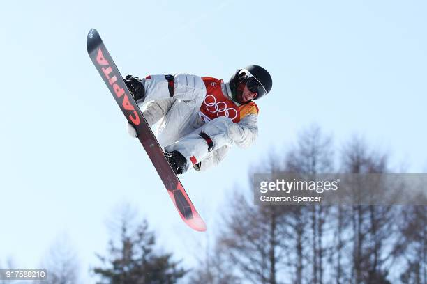 Jake Pates of the United States warms ahead of the Snowboard Men's Halfpipe Qualification on day four of the PyeongChang 2018 Winter Olympic Games at...