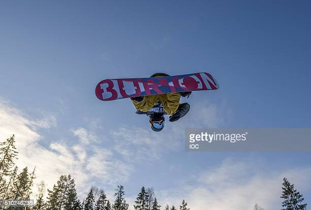 Jake Pates USA Gold Medal winner in the Men's Snowboard Halfpipe Finals at Oslo Vinterpark Halfpipe during the Winter Youth Olympic Games on February...