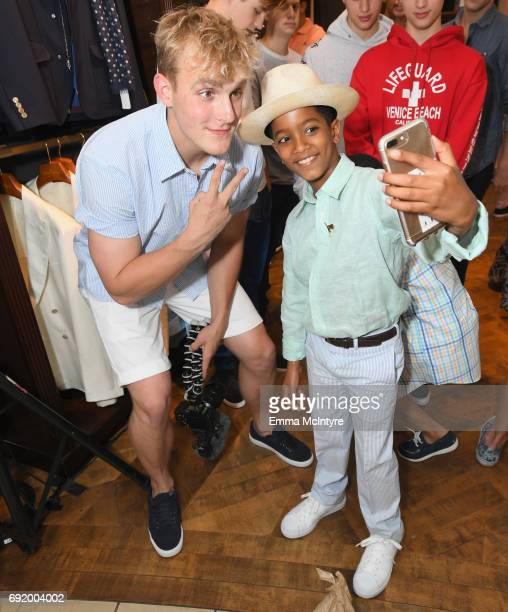 Jake Paul and Ehsan Shahidi at the Brooks Brothers Beverly Hills summer camp party benefitting St Jude Children's Research Hospital at Brooks...