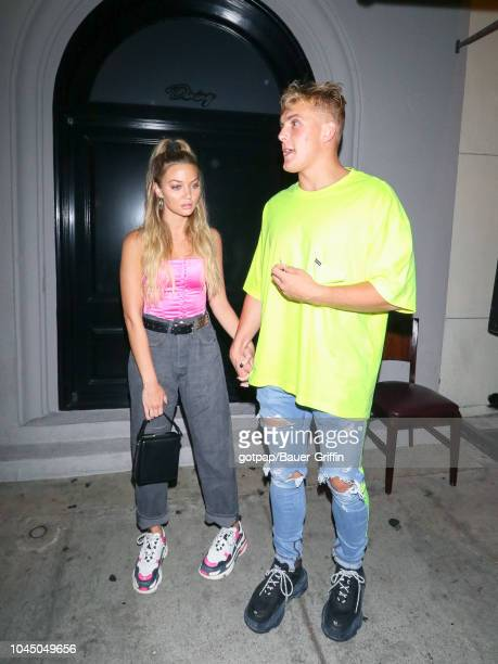 Jake Paul and Erika Costell are seen on October 02 2018 in Los Angeles California
