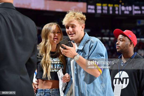 Jake Paul and Erika Costell attend the game between the Philadelphia 76ers and the Miami Heat in Game Five of Round One of the 2018 NBA Playoffs on...