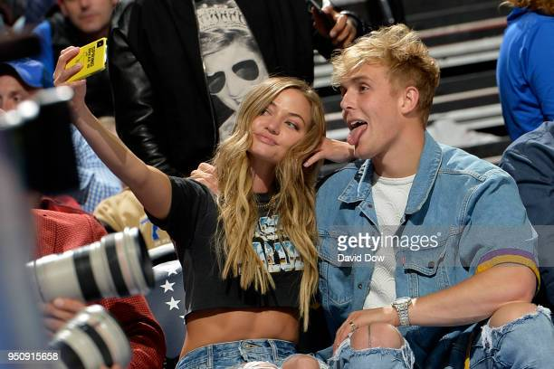Jake Paul and Erika Costell during the game between the Philadelphia 76ers and the Miami Heat in Game Five of Round One of the 2018 NBA Playoffs on...