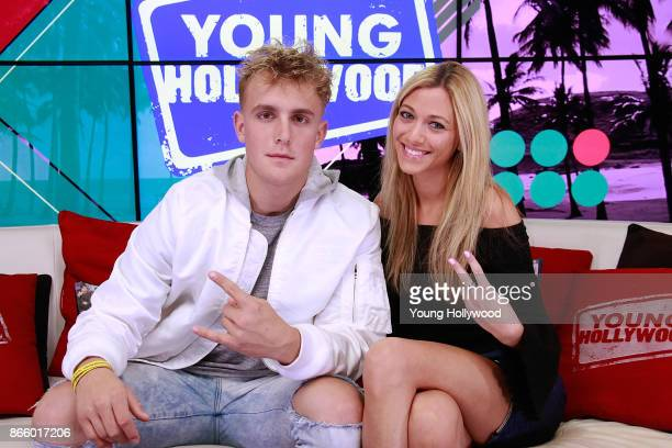 Jake Paul and host Tracy Behr at the Young Hollywood Studio on October 23 2017 in Los Angeles California