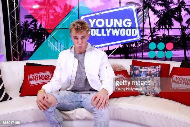 Jake Paul and host Tracy Behr at the Young Hollywood Studio on October 24 2017 in Los Angeles California