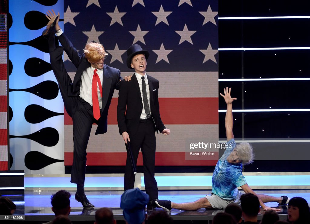 Jake Paul (L) and Jon Cozart (C) onstage during the 2017 Streamy Awards at The Beverly Hilton Hotel on September 26, 2017 in Beverly Hills, California.