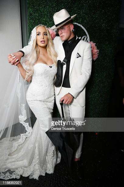 Jake Paul and Tana Mongeau get married at Graffiti House on July 28 2019 in Las Vegas Nevada
