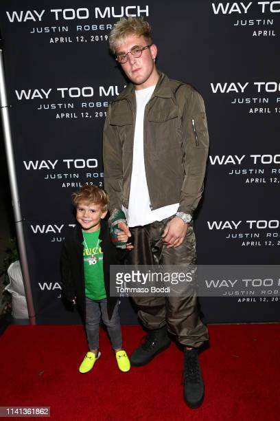 Jake Paul and Tydus Talbott attend the Premiere Party For Justin Roberts' New Music Video Way Too Much at The Peppermint Club on April 08 2019 in Los...