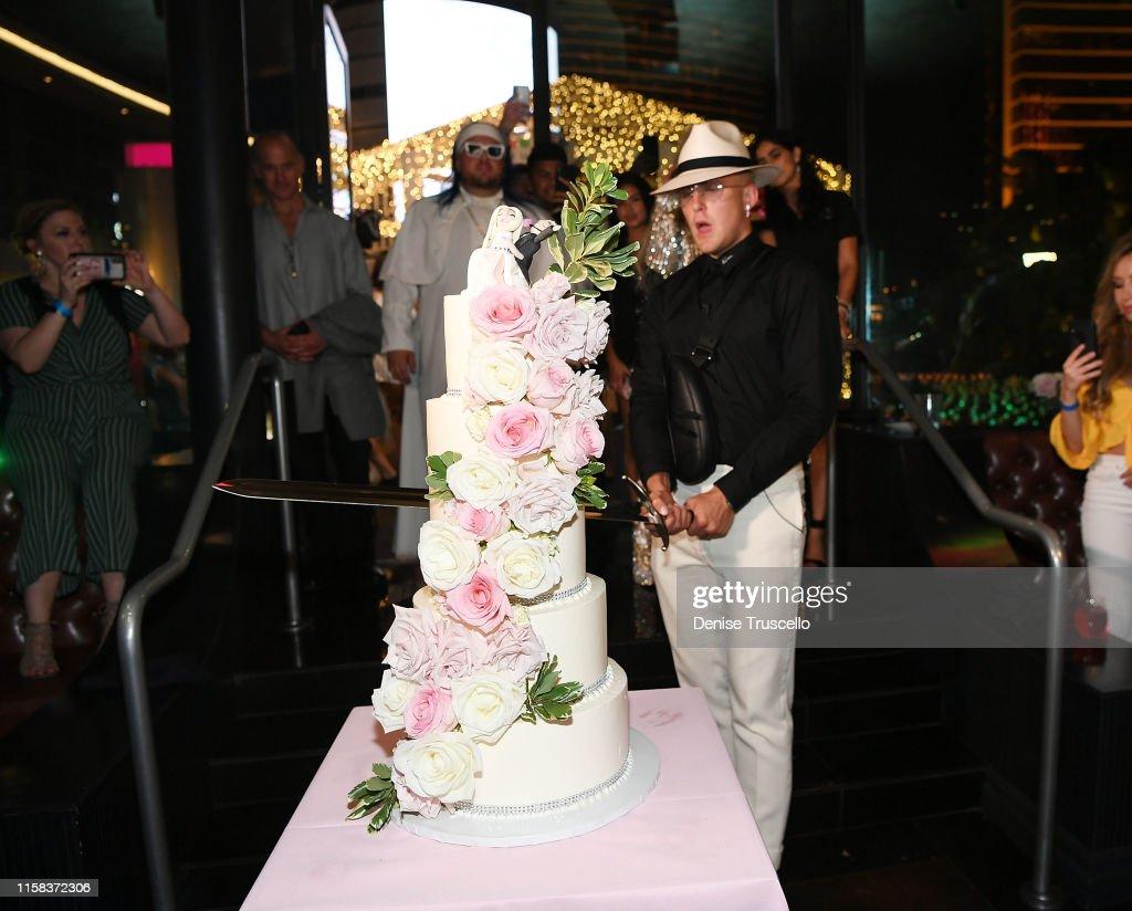 Jake Paul And Tana Mongeau Celebrate Wedding Reception At Sweet Beginnings At Sugar Factory In Las Vegas : News Photo