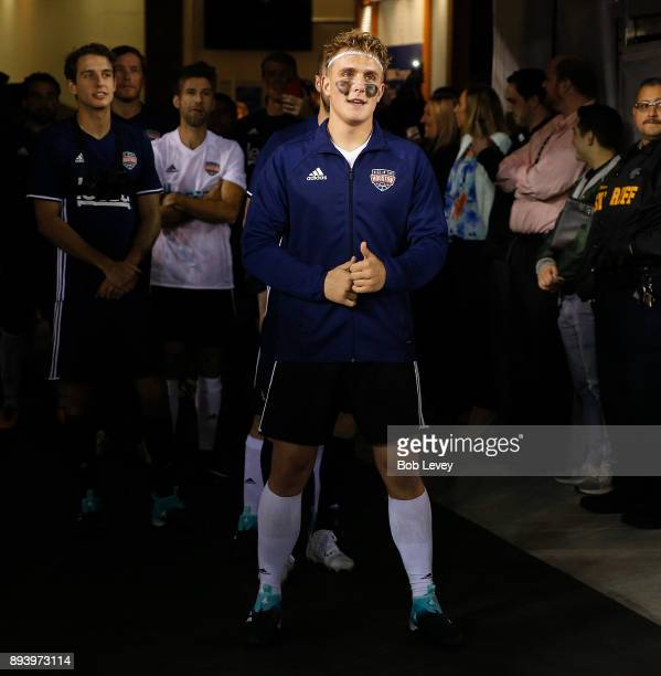 Jake Paul is introduced during the Kick In For Houston Charity Soccer Match at BBVA Compass Stadium on December 16 2017 in Houston Texas
