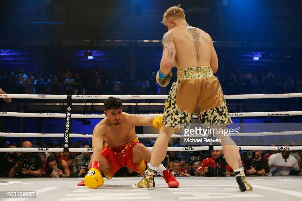 Jake Paul knocks out AnEsonGib during their fight at Meridian at Island Gardens on January 30, 2020 in Miami, Florida.