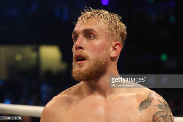 Jake Paul looks on after defeating AnEsonGib in a first round knockout during their fight at Meridian at Island Gardens on January 30, 2020 in Miami,...
