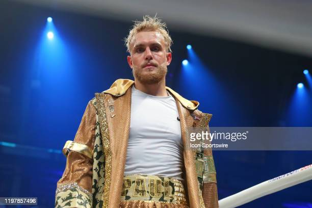 Jake Paul of Los Angeles California enters the ring make his boxing pro debut on January 30, 2020 part of Matchroom Boxing and DAZN Miami Fight Night...