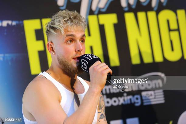 Jake Paul speaks onstage during the Jake Paul VS Anesongib press conference at Beauty Essex on January 08 2020 in Los Angeles California