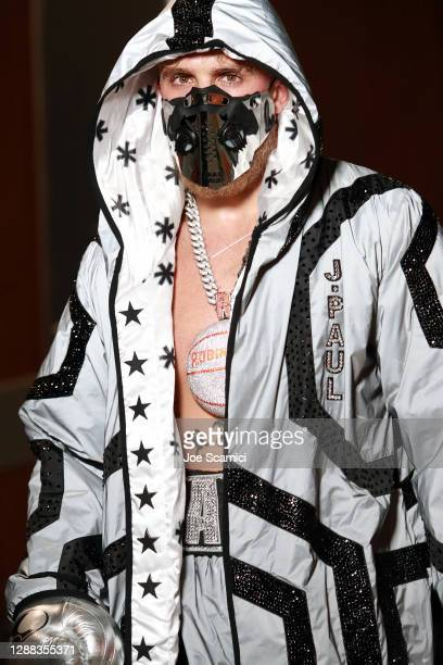 Jake Paul walks towards the ring during Mike Tyson vs Roy Jones Jr. Presented by Triller at Staples Center on November 28, 2020 in Los Angeles,...