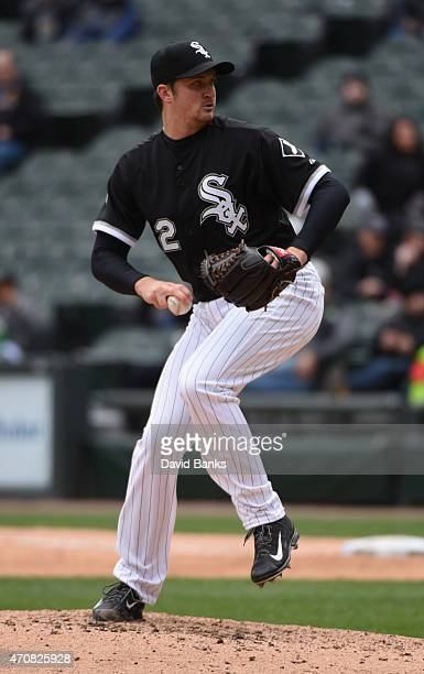 Jake Petricka of the Chicago White Sox pitches against the Cleveland Indians on April 22 2015 at U S Cellular Field in Chicago Illinois