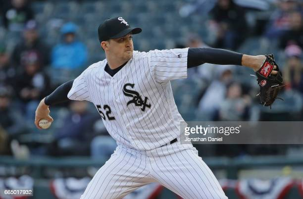 Jake Petricka of the Chicago White Sox pitches against the Detroit Tigers during the opening day game at Guaranteed Rate Field on April 4 2017 in...