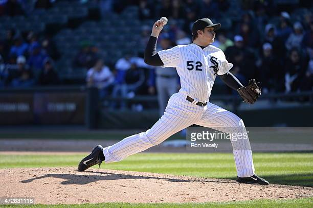 Jake Petricka of the Chicago White Sox pitches against the Kansas City Royals on April 26 2015 at US Cellular Field in Chicago Illinois Photo by Ron...