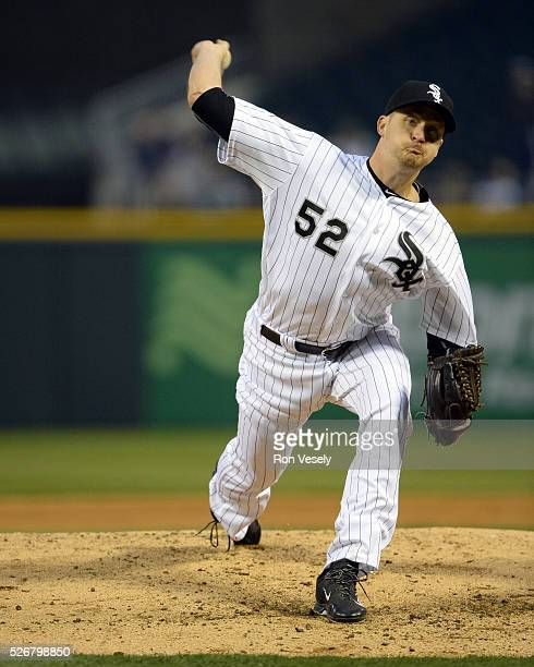 Jake Petricka of the Chicago White Sox pitches against the Los Angeles Angels of Anaheim on April 18 2016 at US Cellular Field in Chicago Illinois...