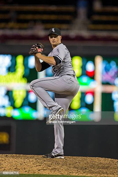 Jake Petricka of the Chicago White Sox pitches against the Minnesota Twins on September 2 2014 at Target Field in Minneapolis Minnesota The White Sox...