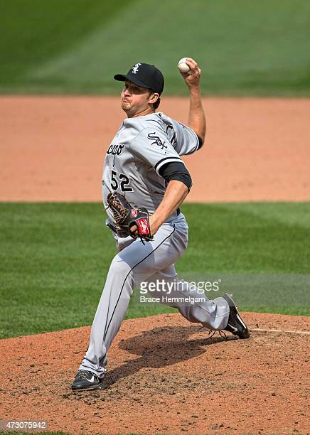 Jake Petricka of the Chicago White Sox pitches against the Minnesota Twins on May 2 2015 at Target Field in Minneapolis Minnesota The Twins defeated...
