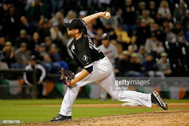 Jake Petricka of the Chicago White Sox pitches against the Minnesota Twins during the ninth inning at US Cellular Field on September 12 2015 in...
