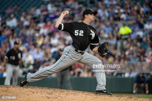 Jake Petricka of the Chicago White Sox pitches against the Minnesota Twins on June 20 2017 at Target Field in Minneapolis Minnesota The Twins...