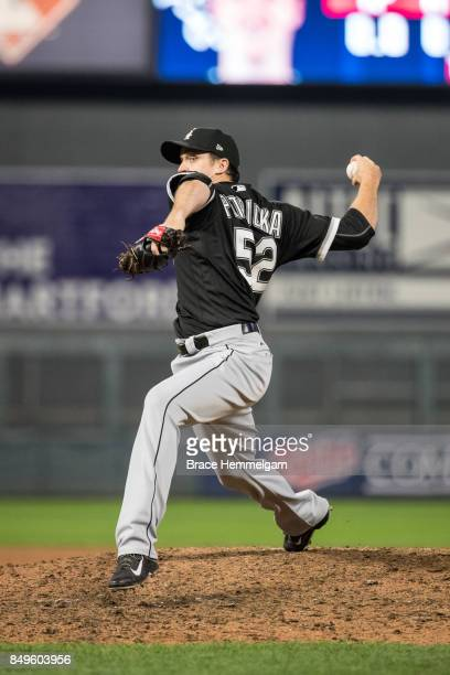 Jake Petricka of the Chicago White Sox pitches against the Minnesota Twins on August 30 2017 at Target Field in Minneapolis Minnesota The Twins...