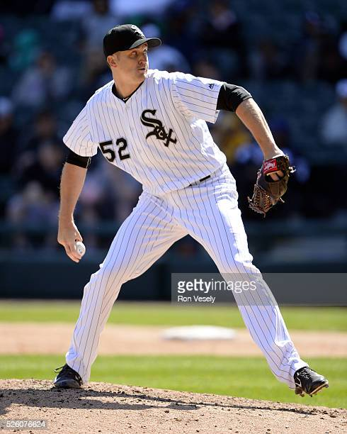 Jake Petricka of the Chicago White Sox pitches against the Texas Rangers on April 23 2016 at US Cellular Field in Chicago Illinois The White Sox...
