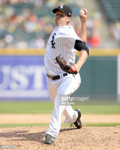 Jake Petricka of the Chicago White Sox pitches against the Toronto Blue Jays on August 2 2017 at Guaranteed Rate Field in Chicago Illinois