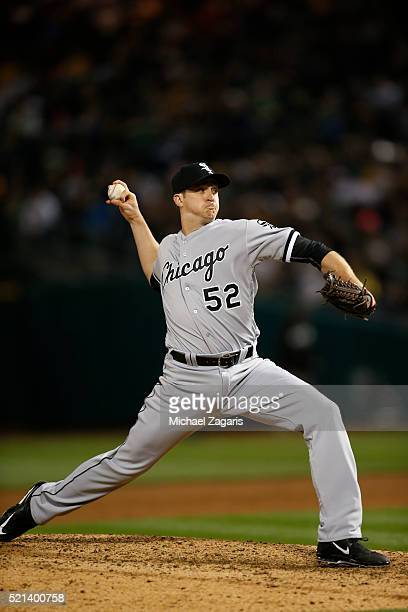 Jake Petricka of the Chicago White Sox pitches during the game against the Oakland Athletics at Oakland Coliseum on April 4 2016 in Oakland...