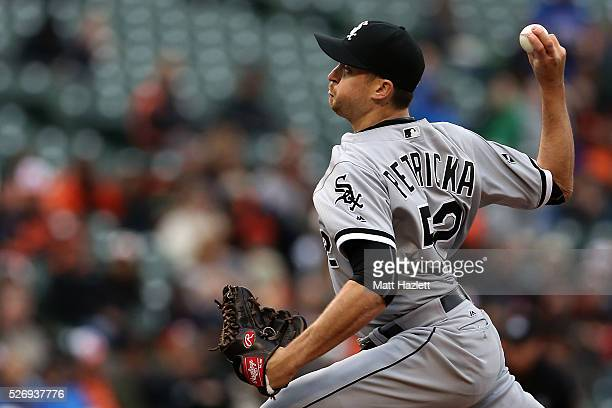 Jake Petricka of the Chicago White Sox pitches in the sixth inning against the Baltimore Orioles at Oriole Park at Camden Yards on May 1 2016 in...