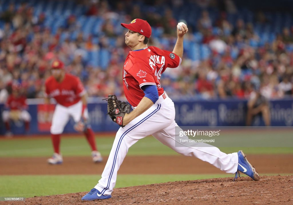 Jake Petricka #39 of the Toronto Blue Jays delivers a pitch in the eighth inning during MLB game action against the Detroit Tigers at Rogers Centre on July 1, 2018 in Toronto, Canada.
