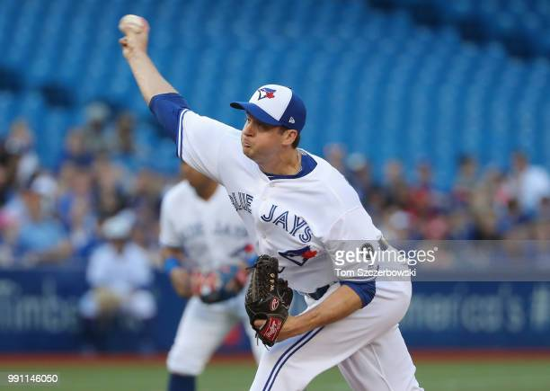 Jake Petricka of the Toronto Blue Jays delivers a pitch in the second inning during MLB game action against the New York Mets at Rogers Centre on...