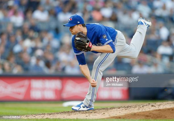 Jake Petricka of the Toronto Blue Jays in action against the New York Yankees at Yankee Stadium on September 15 2018 in the Bronx borough of New York...