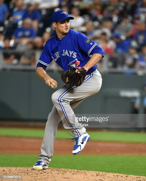 Jake Petricka of the Toronto Blue Jays throws in the seventh inning against the Kansas City Royals at Kauffman Stadium on August 14 2018 in Kansas...