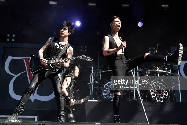 Jake Pitts and Andy Biersack of Black Veil Brides perform during the Aftershock Festival 2018 at Discovery Park on October 14 2018 in Sacramento...