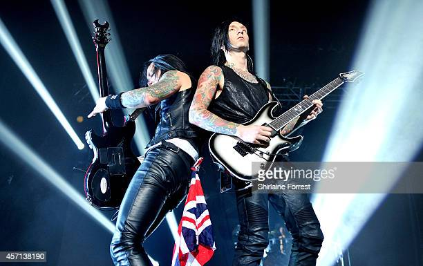 Jake Pitts and Jinxx of Black Veil Brides perform at O2 Apollo Manchester on October 12 2014 in Manchester England