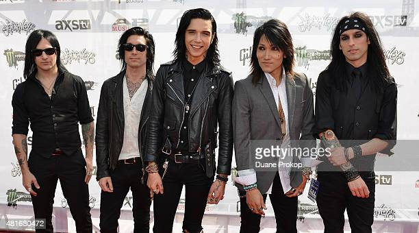 Jake Pitts Jinxx Andy Biersack Ashley Purdy and Christian Coma of Black Veil Brides attend the 2015 Journeys AP Music Awards Fueled by Monster Energy...