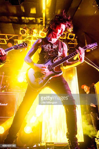 Jake Pitts of Black Veil Brides performs on stage during an intimate European tour rehersal show for fans at Electric Ballroom on March 15 2015 in...