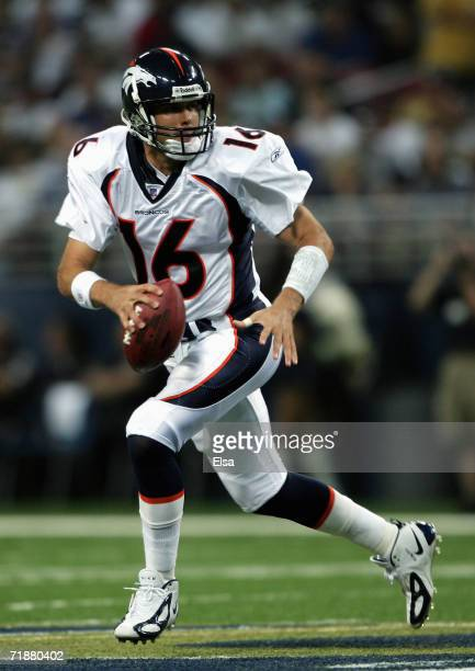 Jake Plummer of the Denver Borncos looks to pass during the game with the St Louis Rams on September 10 2006 at the Edward Jones Dome in St Louis...